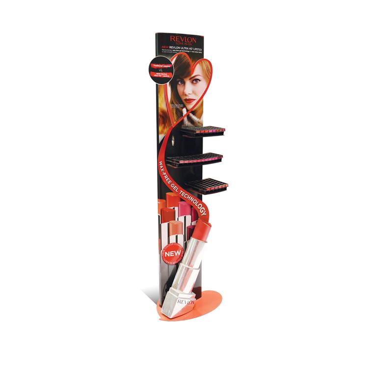 APEX 定制化妆品口红纸货架 落地式三层瓦楞纸展架 超市公仔陈列纸展示架