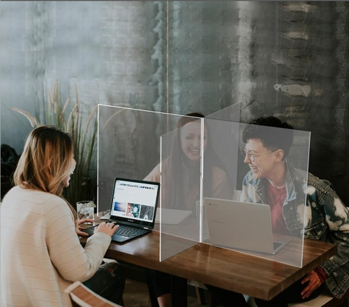 APEX亚克力防飞沫隔离板透明学校防疫办公食堂餐桌阻隔板十字挡板隔断