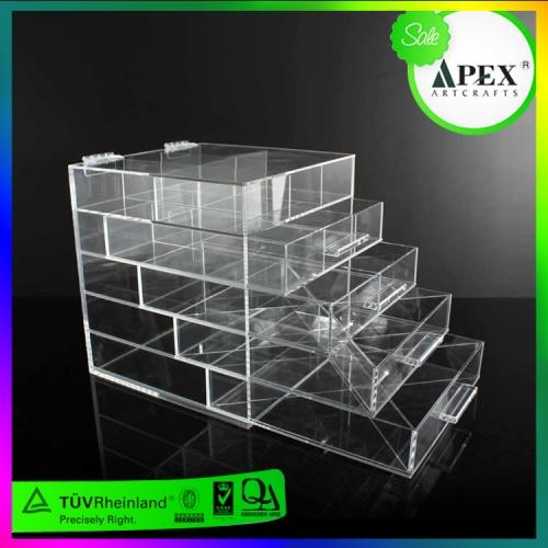 APEX透明有机玻璃亚克力收纳盒 化妆品收纳盒亚克力托盘厂家定制设计