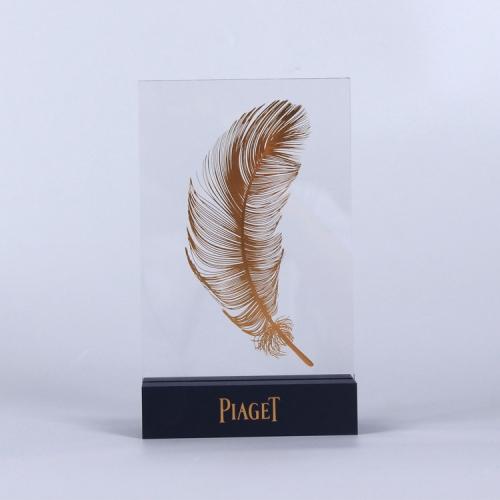 APEX亚克力定制表面烫金羽毛台卡标识牌奖牌POP展示架